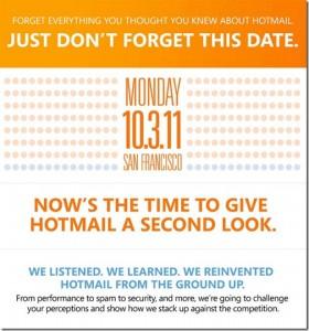 Nuevo Hotmail es presentado el 3 de Octubre
