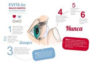Evita los malos hábitos con tus lentes de contacto, para prevenir daños en tus ojos